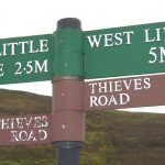 Sign at Cauldstane Slap