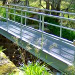 Metal footbridge over Altyre Burn